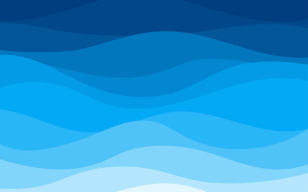niebieskie krzywe i fale morza wahają się od miękkiego do ciemnego wektorowego płaskiego stylu - fala woda stock illustrations