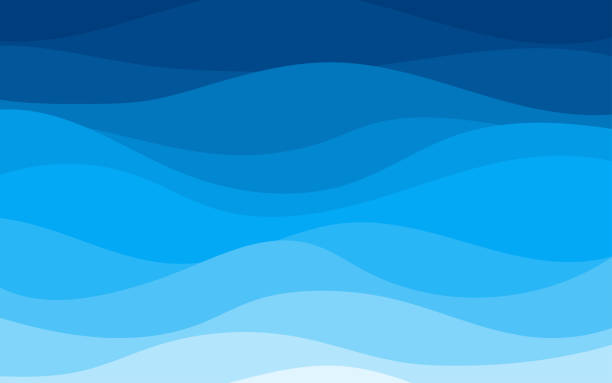 Blue curves and the waves of the sea range from soft to dark vector background flat design style Blue curves and the waves of the sea range from soft to dark vector background flat design style curve stock illustrations