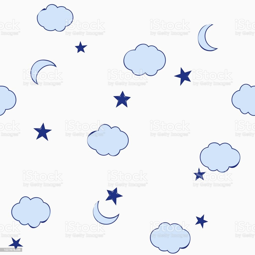 Blue Cute Clouds Stars And Moon Seamless Pattern Baby Style