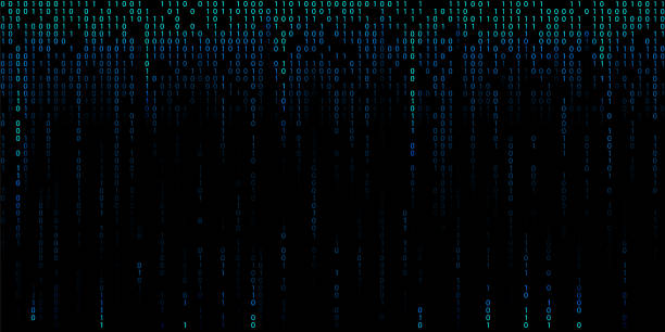 Blue cyber background of binary code digits. Blue cyber background of binary code digits coding stock illustrations