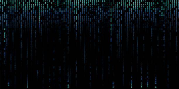 バイナリコードの数字の青いサイバー背景。 - 光 黒背景点のイラスト素材/クリップアート素材/マンガ素材/アイコン素材