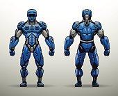 Blue Cyborg soldier