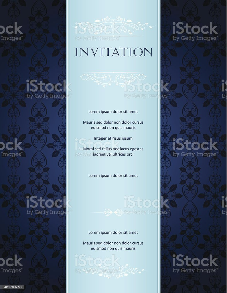 Blue Damask Background With Pattern And Frame Greeting Card Invitation vector art illustration