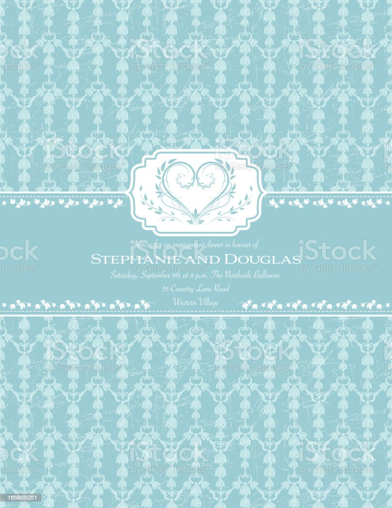 Blue Damask Wedding Invitation royalty-free stock vector art