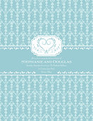 Blue Damask Wedding Invitation on a teal blue background.  There is a wide blank teal horizontal stripe across the middle with the wedding invitational text.  There is a white decorative frame with a sketchy design heart just above the middle stripe.