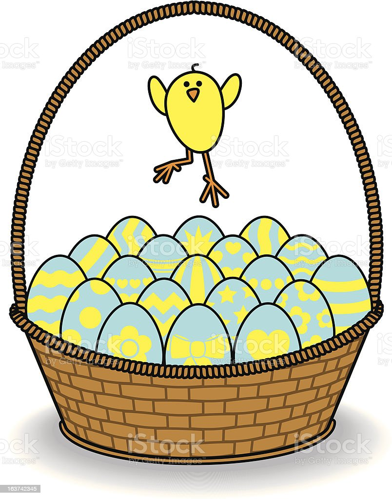 Blue Decorated Eggs in Brown Basket with Jumping Chick royalty-free blue decorated eggs in brown basket with jumping chick stock vector art & more images of animal