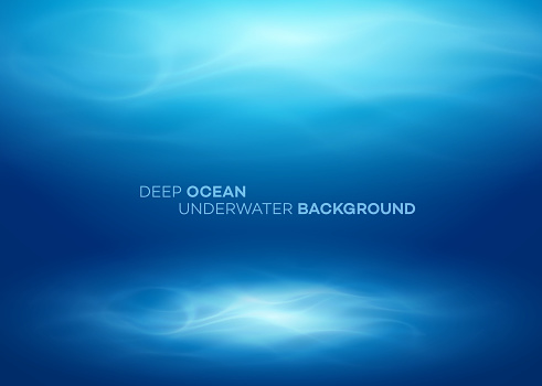 Blue deep water and sea abstract natural background. Vector illustration clipart