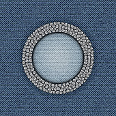Blue jeans circle frame with sequin ring.