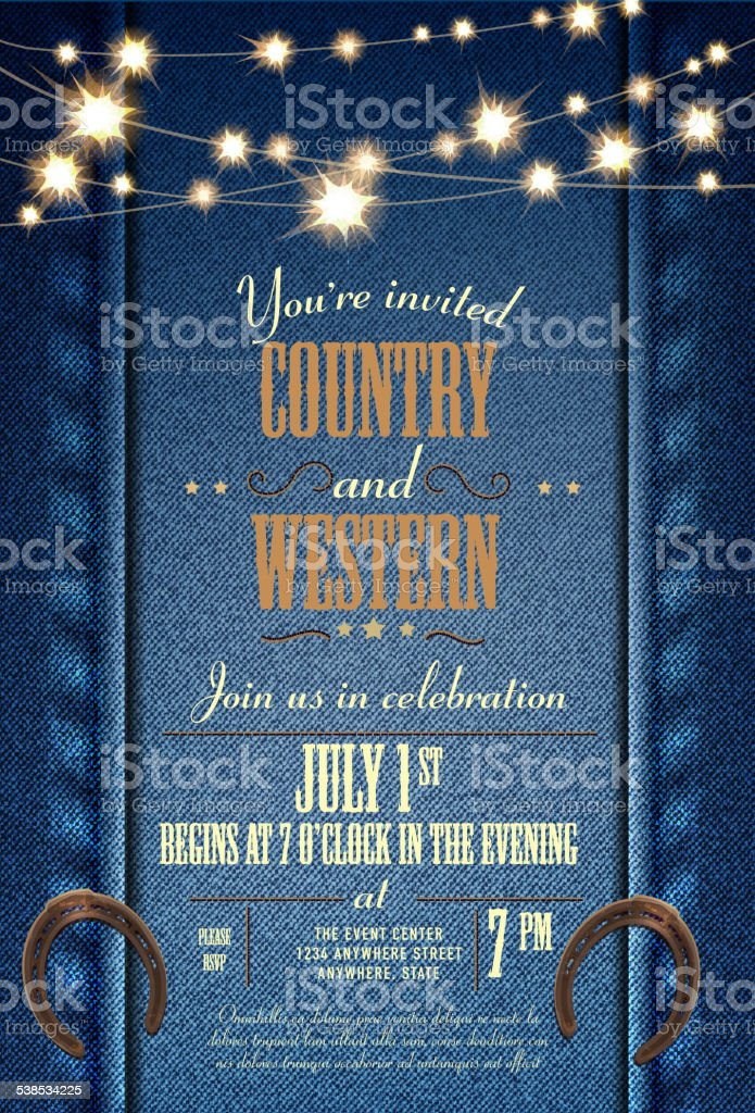 Blue Denim Country Western Invitation Design Template With String