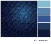 A background of indigo blue denim. In a colour palette with complimentary colour swatches. EPS10 vector format