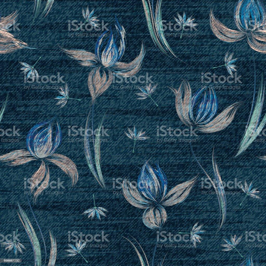 カラフルな花柄とブルーのデニムシームレスな壁紙 アウトドアのベクターアート素材や画像を多数ご用意 Istock