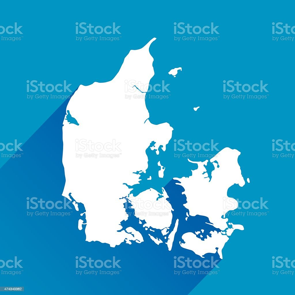 Blue Denmark Map Icon vector art illustration