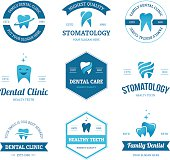 Set of blue dental clinic, dentist and stomatology labels, signs and emblems with teeth icons isolated on white background