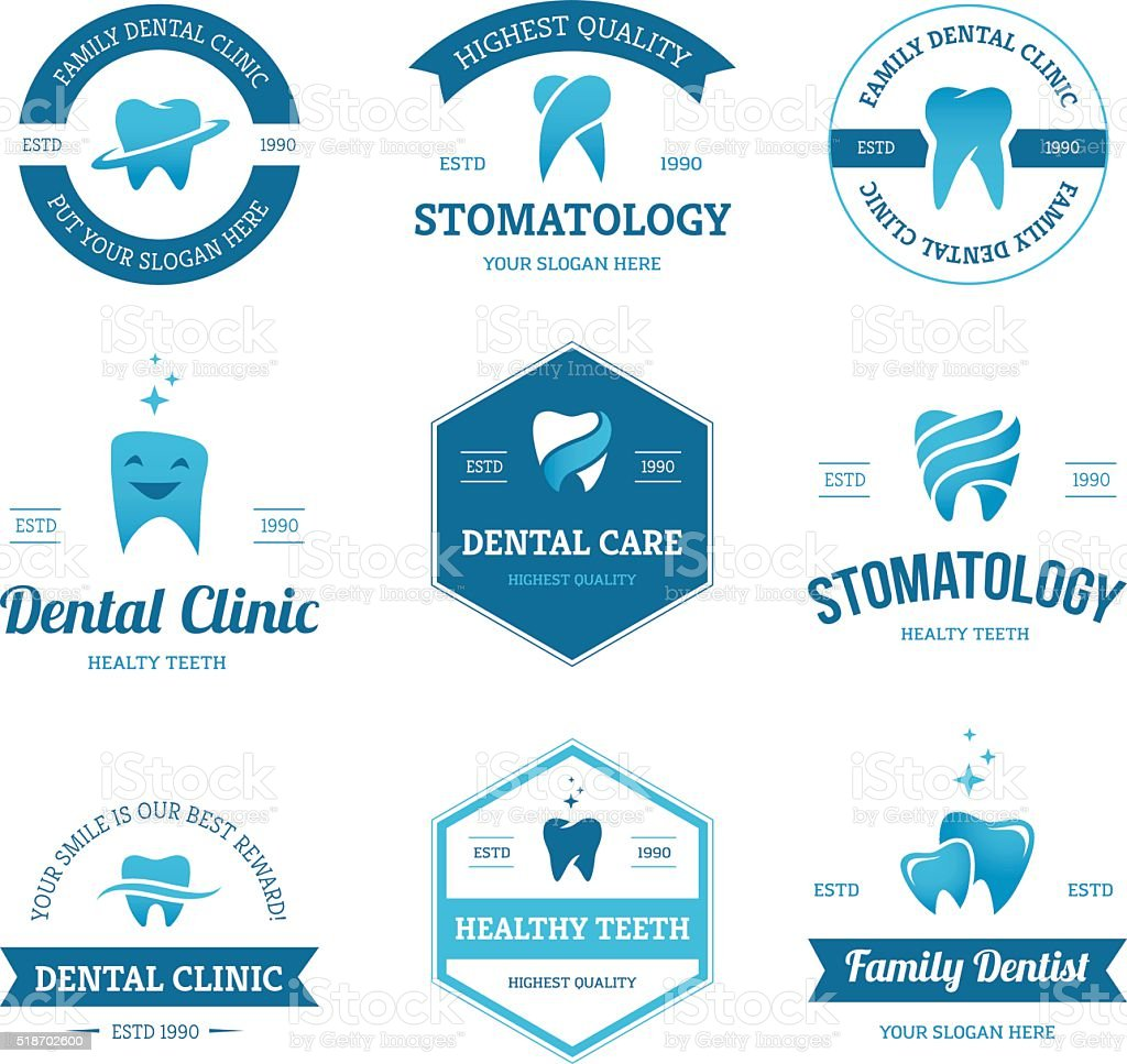 Blue dental labels vector art illustration
