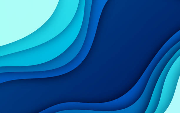 Blue Depth Gradient Abstract Background Abstract gradient layered space depth background. multi layered effect stock illustrations
