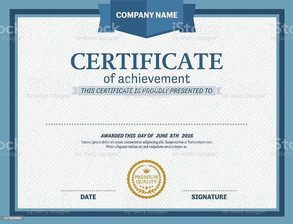blue design certificate diploma template vector illustration