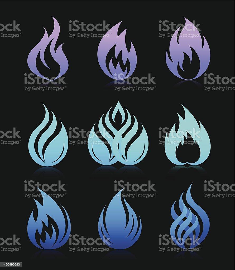 Blue design fire elements on black royalty-free stock vector art