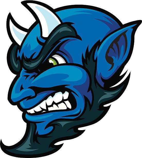 Blue Devil Head vector art illustration