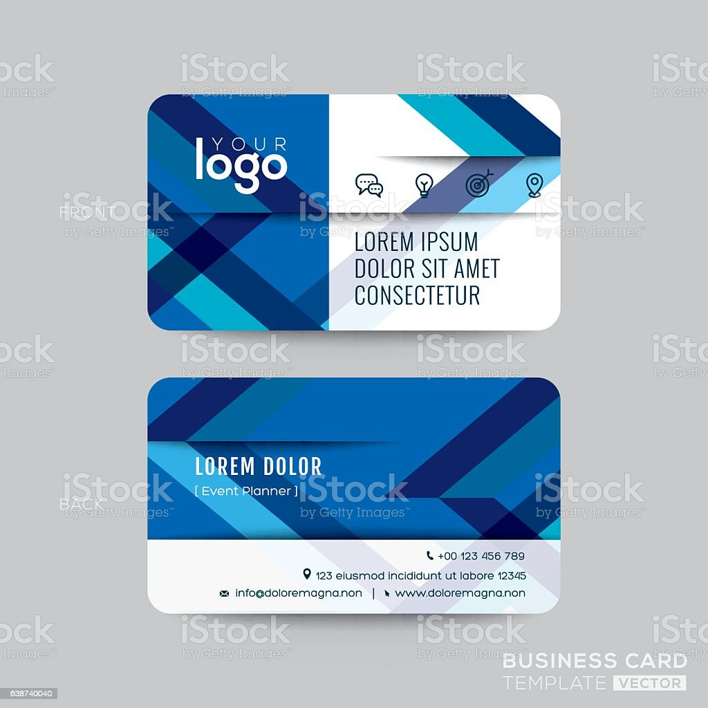 Line Art Card Design : Blue diagonal line business card design stock vector art