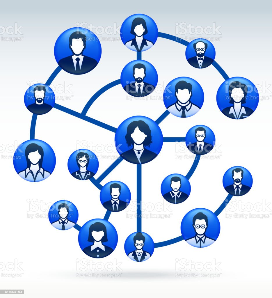 Blue diagram of corporate social web with faces on it. vector art illustration