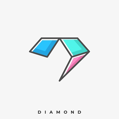 Blue Diamond Illustration Vector Template