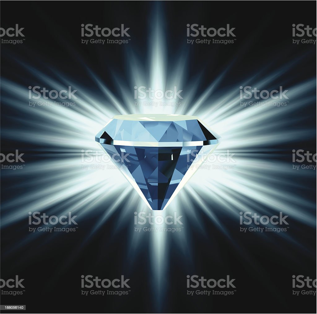 Blue diamond on bright background. Vector royalty-free blue diamond on bright background vector stock vector art & more images of abundance