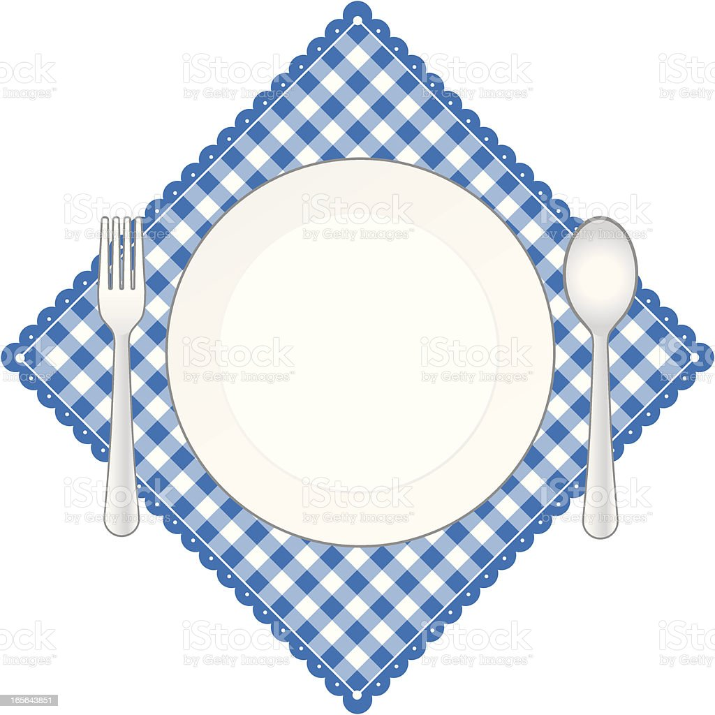 Blue Diamond Place Setting Banner royalty-free stock vector art