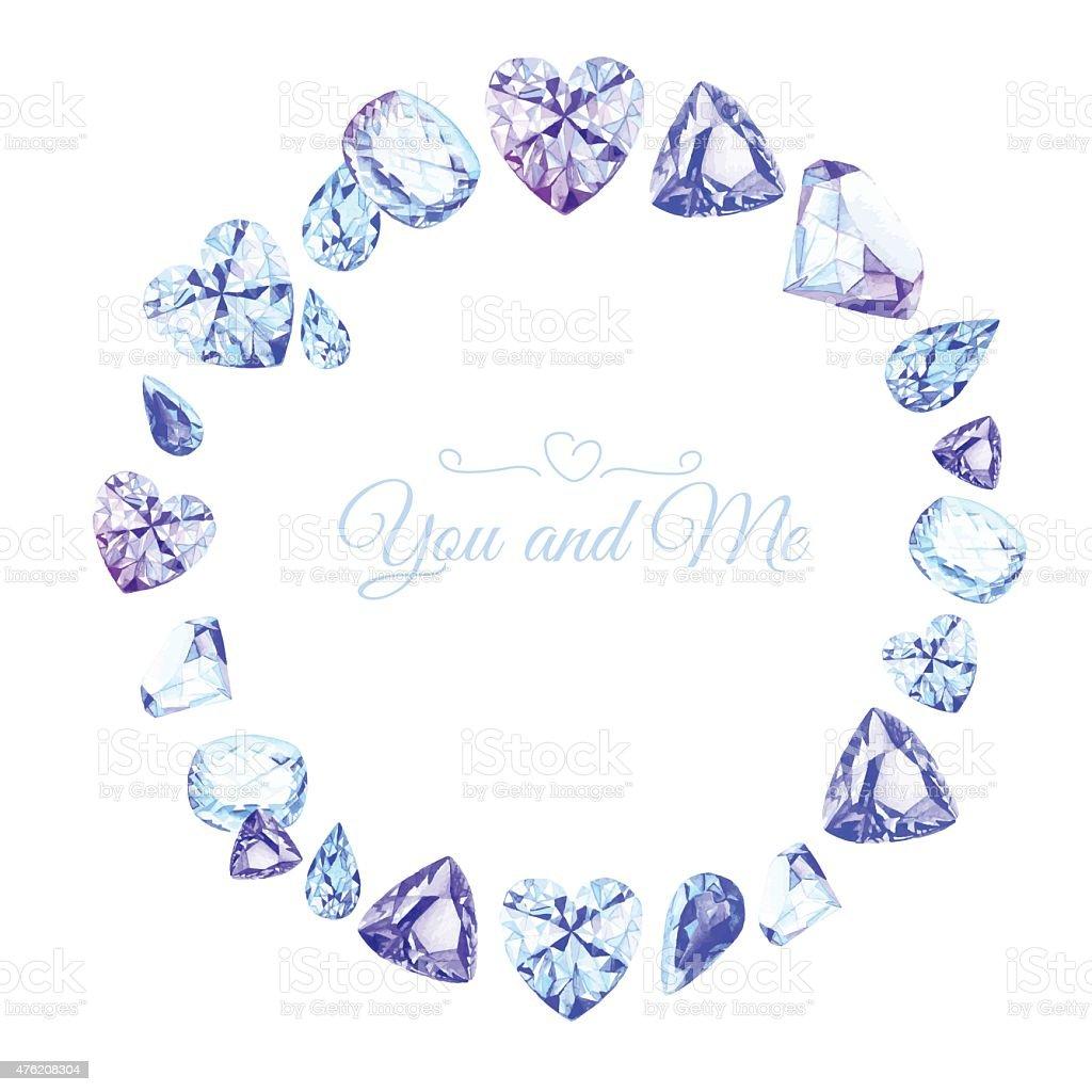 ブルーダイヤモンドの水彩ラウンドベクトルデザインフレーム ベクターアートイラスト