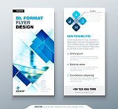 Blue DL Flyer design with square shapes, corporate business template for dl flyer. Creative concept flyer or banner layout
