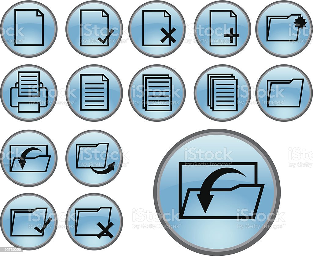 blue document and folder icons royalty-free stock vector art