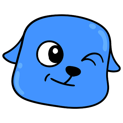 blue dog head winking to tease the opposite sex, vector illustration carton emoticon. doodle icon drawing