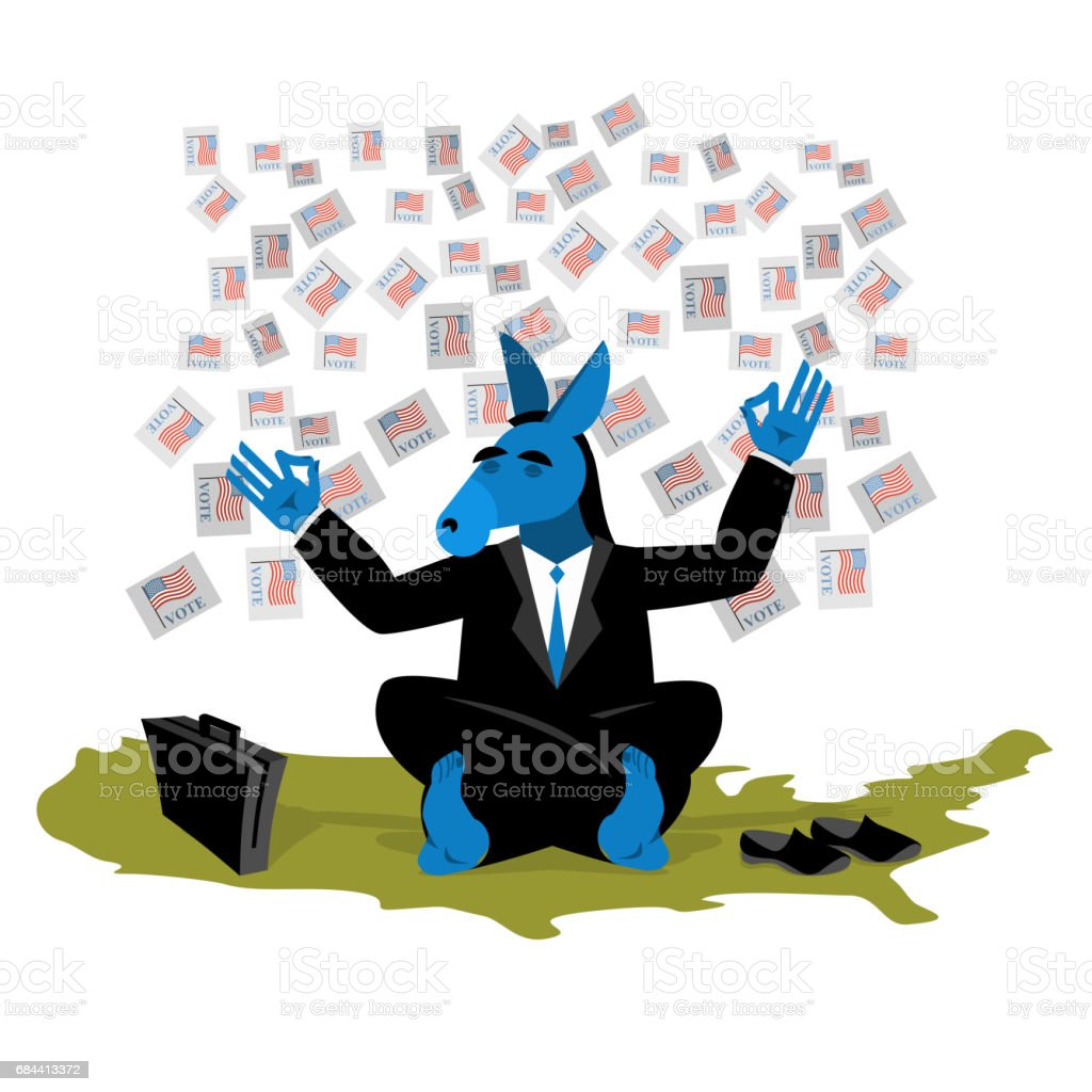 Blue Donkey Democrat Meditates To Vote In Elections On Usa Map