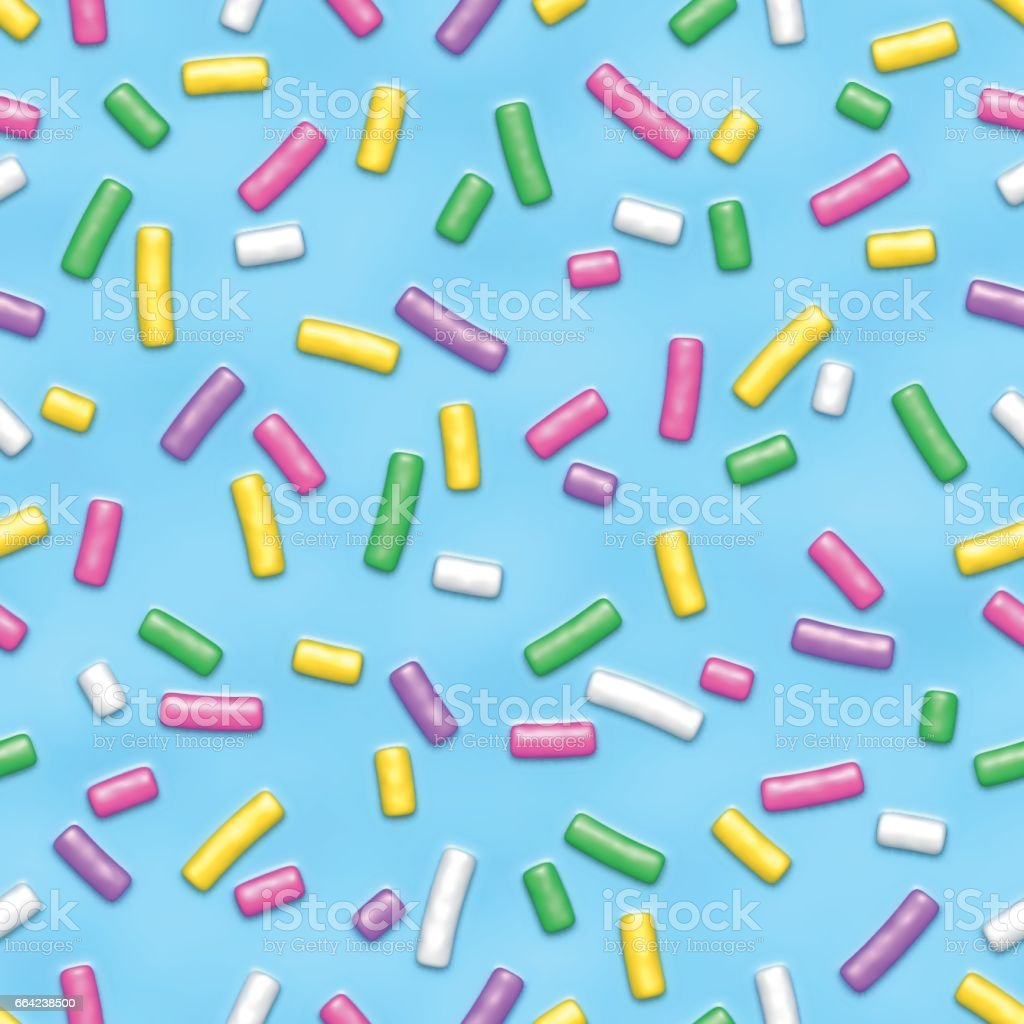 Blue donut glaze with sprinkles seamless pattern vector art illustration