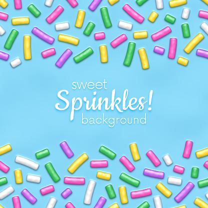 Blue donut glaze with sprinkles seamless pattern