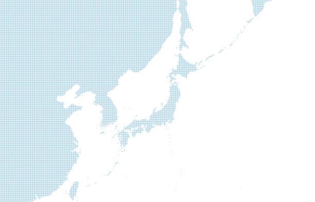 藍色點綴日本地圖,包括鄰國。小尺寸。 - hiroshima 幅插畫檔、美工圖案、卡通及圖標