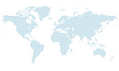 blue dotted world map. normal size. center line United Kingdom.