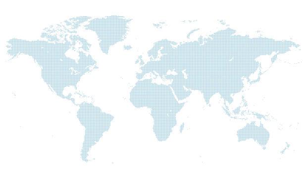 niebieska kropkowana mapa świata 1. normalnej wielkości. - mapa świata stock illustrations