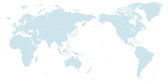 blue dotted world map centered on Japan. large size.