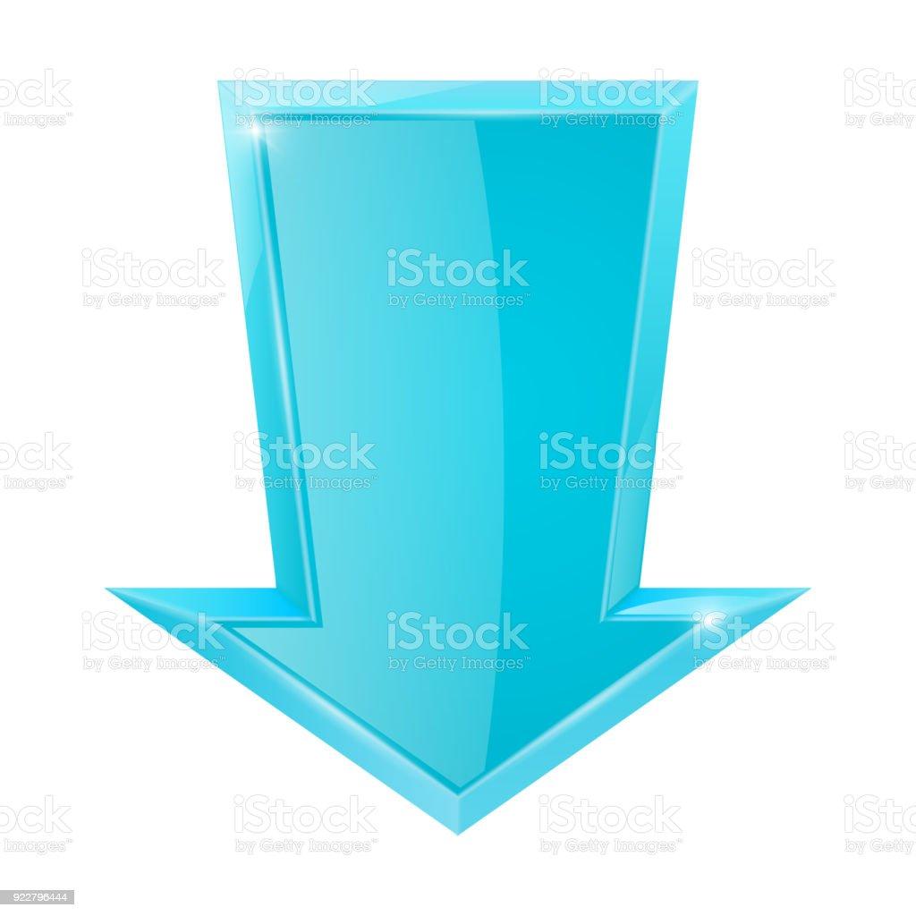 Blue Down Arrow Stock Vector Art More Images Of Arrow Symbol