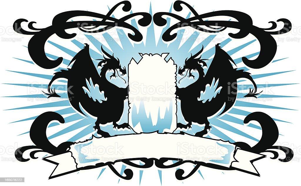 Blue Dragon Crest royalty-free stock vector art