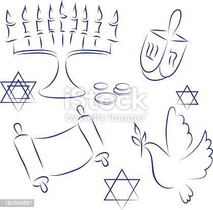 istock Blue drawings of things related to Hanukkah 164545551