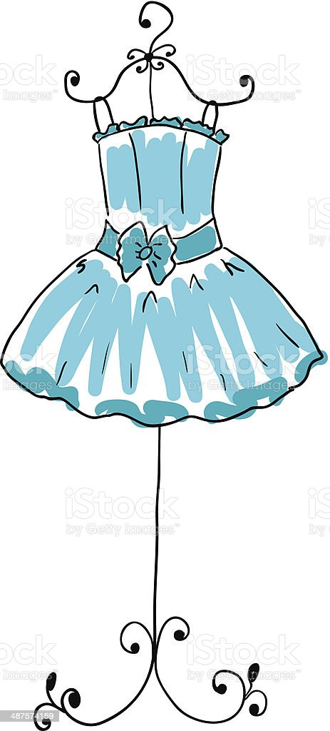 blue dress on a hanger vector art illustration
