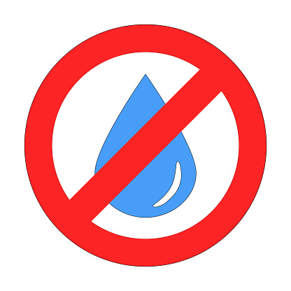 Blue drop or droplet of water in forbidding crossed out red circle on white background. The sign, logo, embleme or simbol of drought, arid area, lack of water, water pollution, water saving