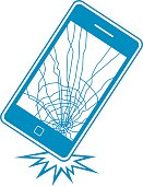 Vector illustration of a dropped smart phone breaking.