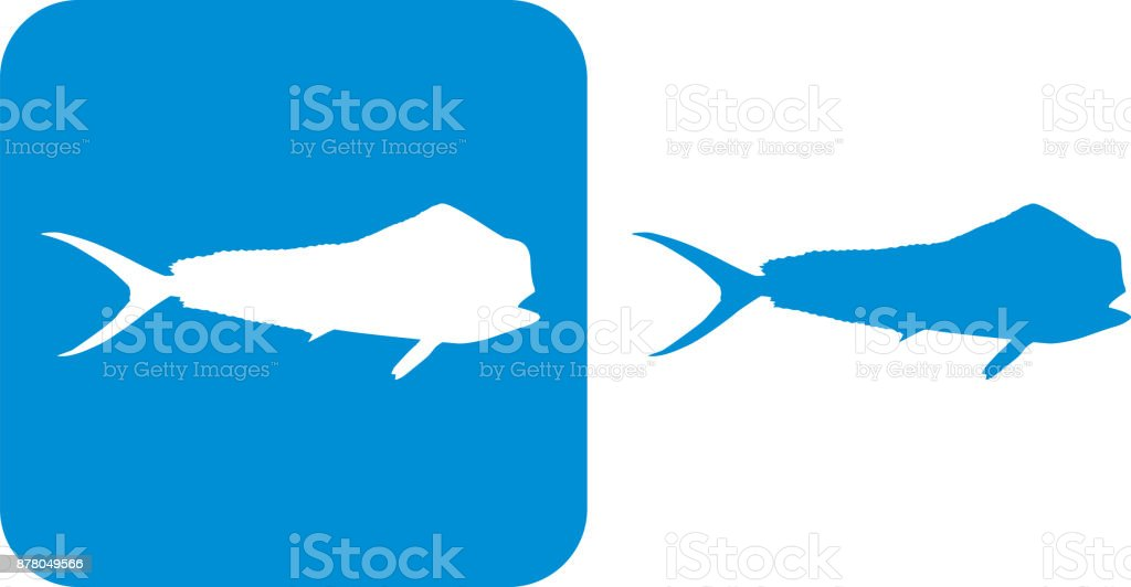 Blue Durado Mahi Fish Icons vector art illustration