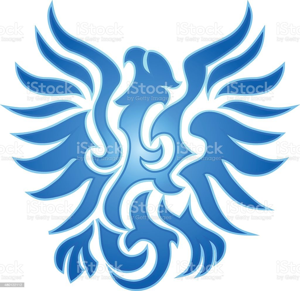 Blue eagle flame emblem vector art illustration