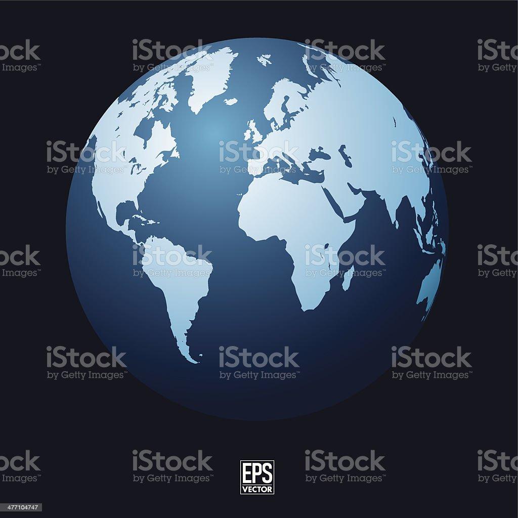 Blue Earth Globe royalty-free stock vector art