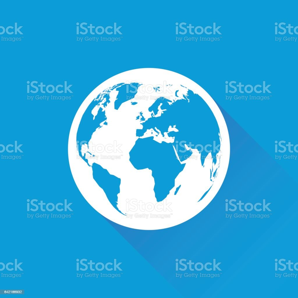 blue earth with long shadow vector art illustration