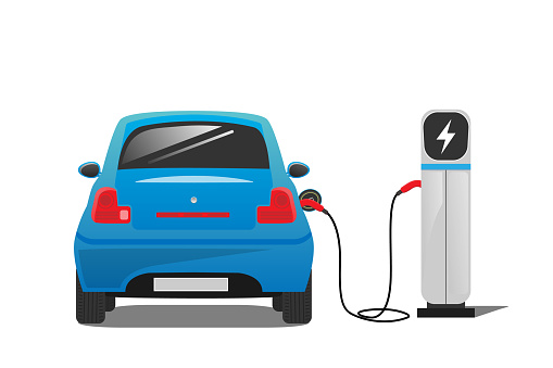Blue electric car with electric car charging station on white background