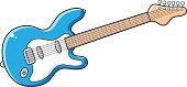 Blue six-string electric guitar vector isolated.